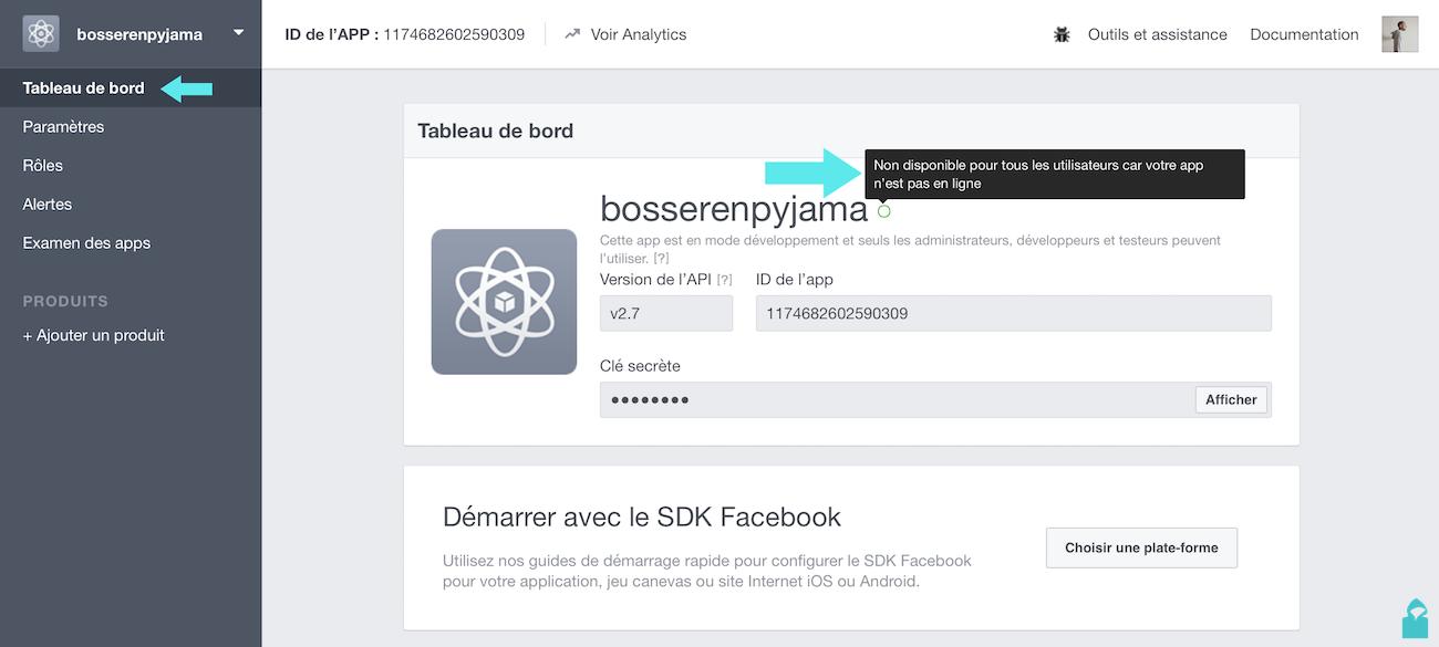 facebook app mode developement
