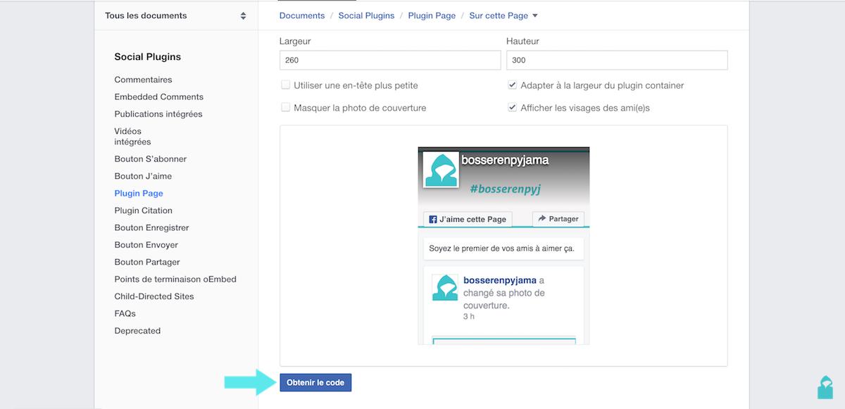facebook plugin page obtenir le code