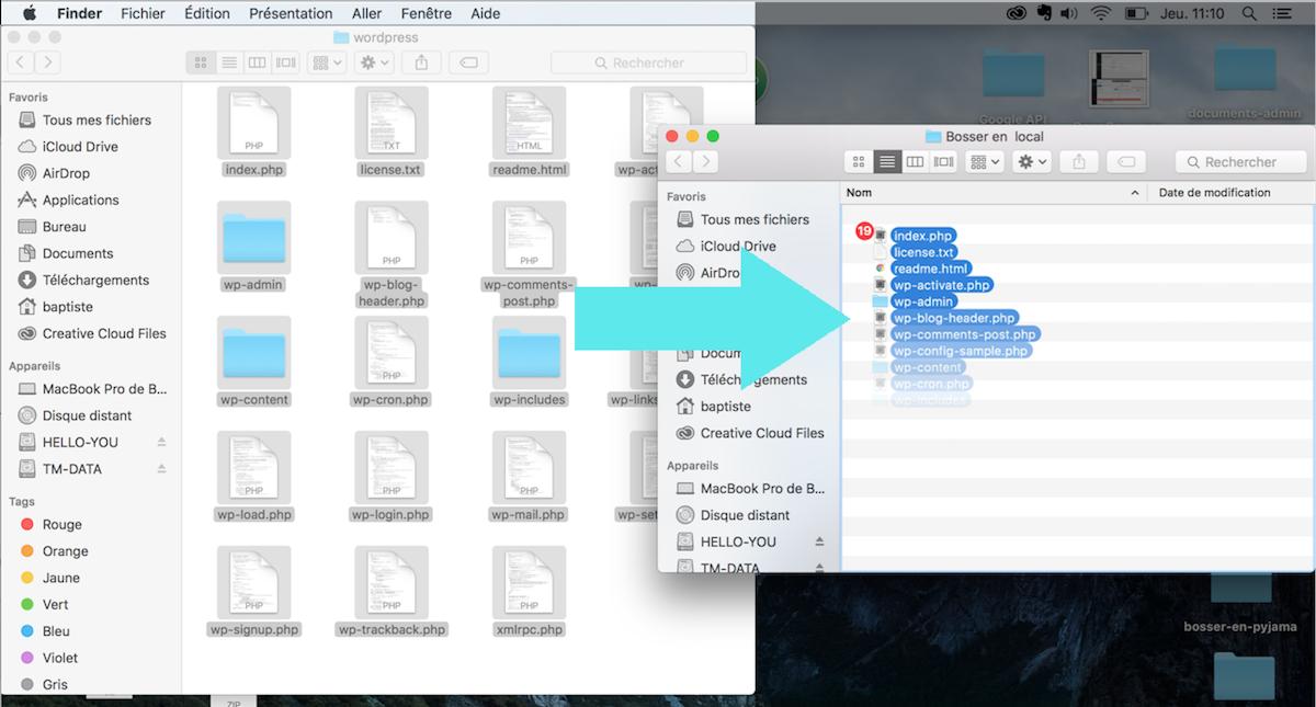 MAMP transfert wordpress