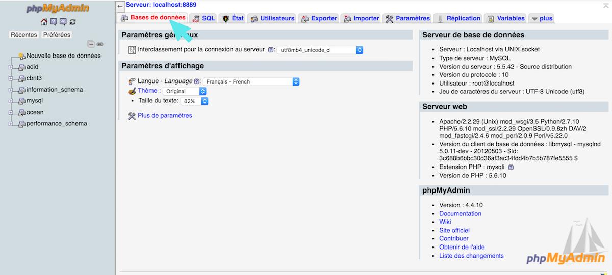 php my admin creation base de donnees