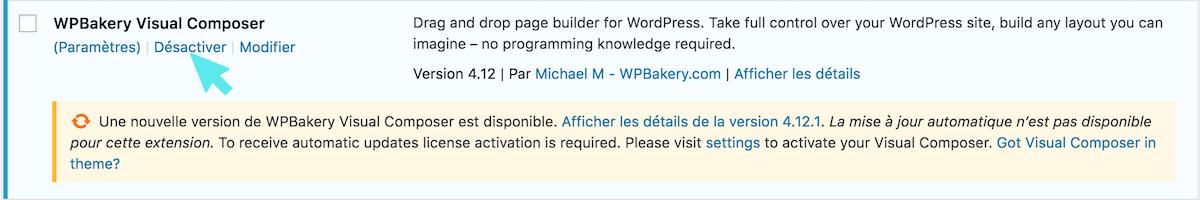 wordpress visual composer desactivate