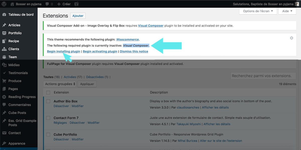 visual composer plugin is currently inactive