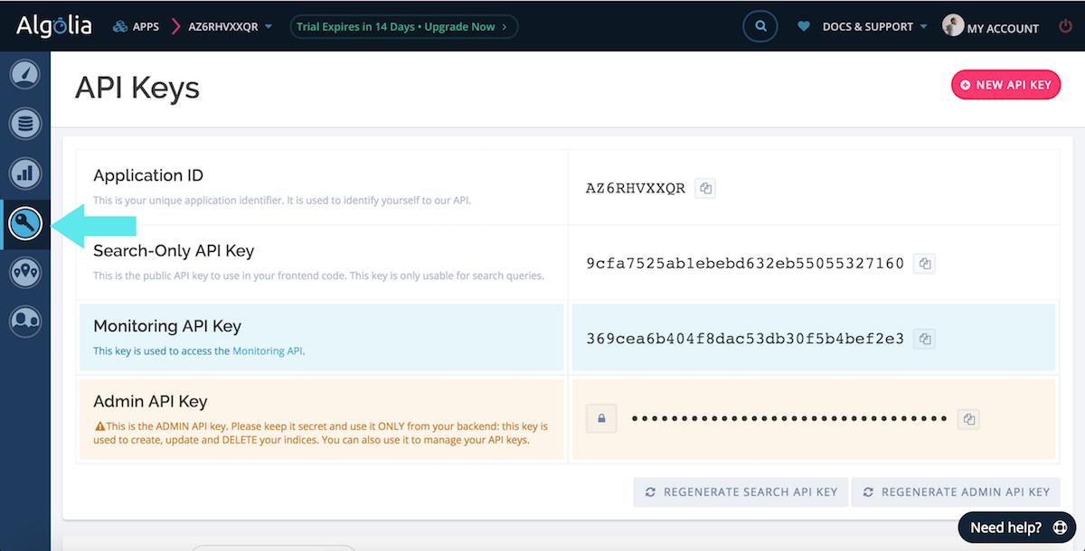 algolia API keys