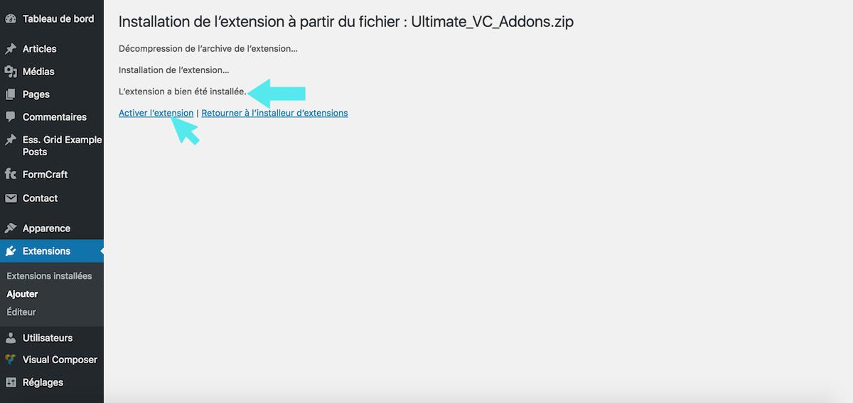 wordpress extension installee