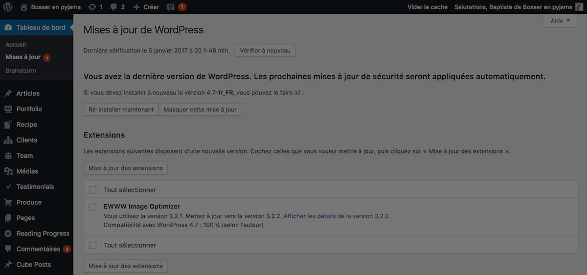 wordpress mises a jour