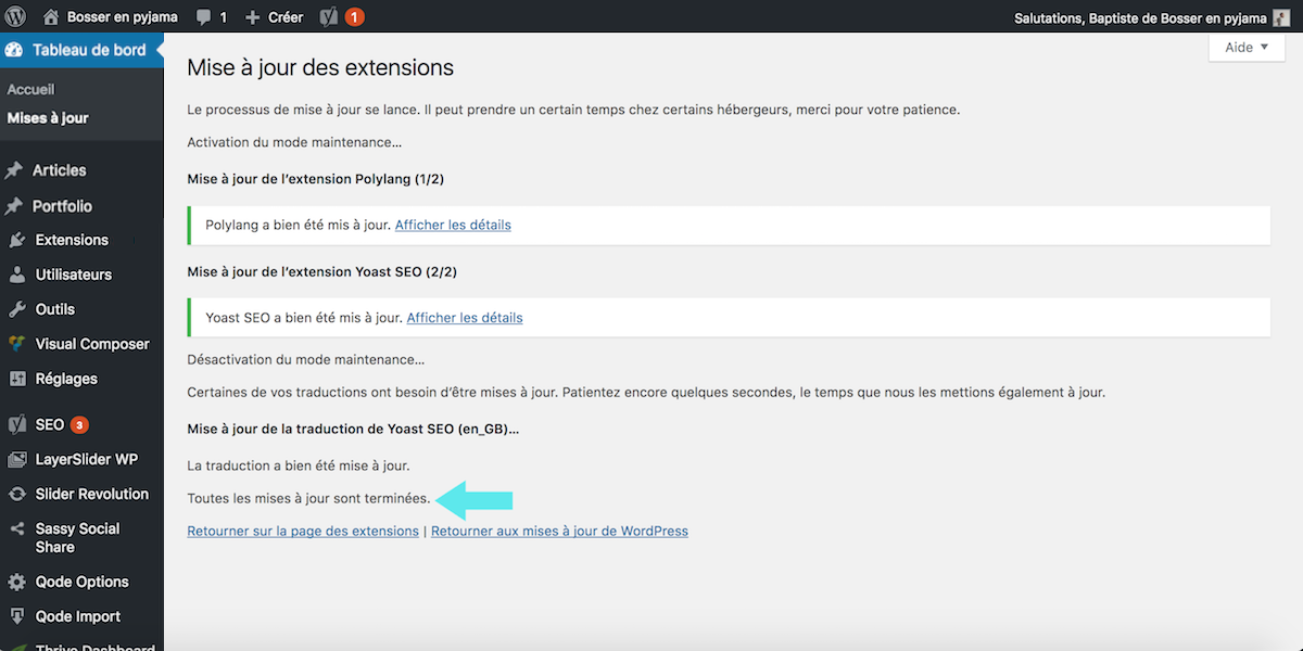 wordpress extensions a jour
