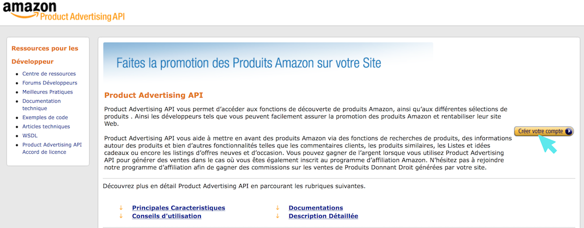 amazon product advertising api create