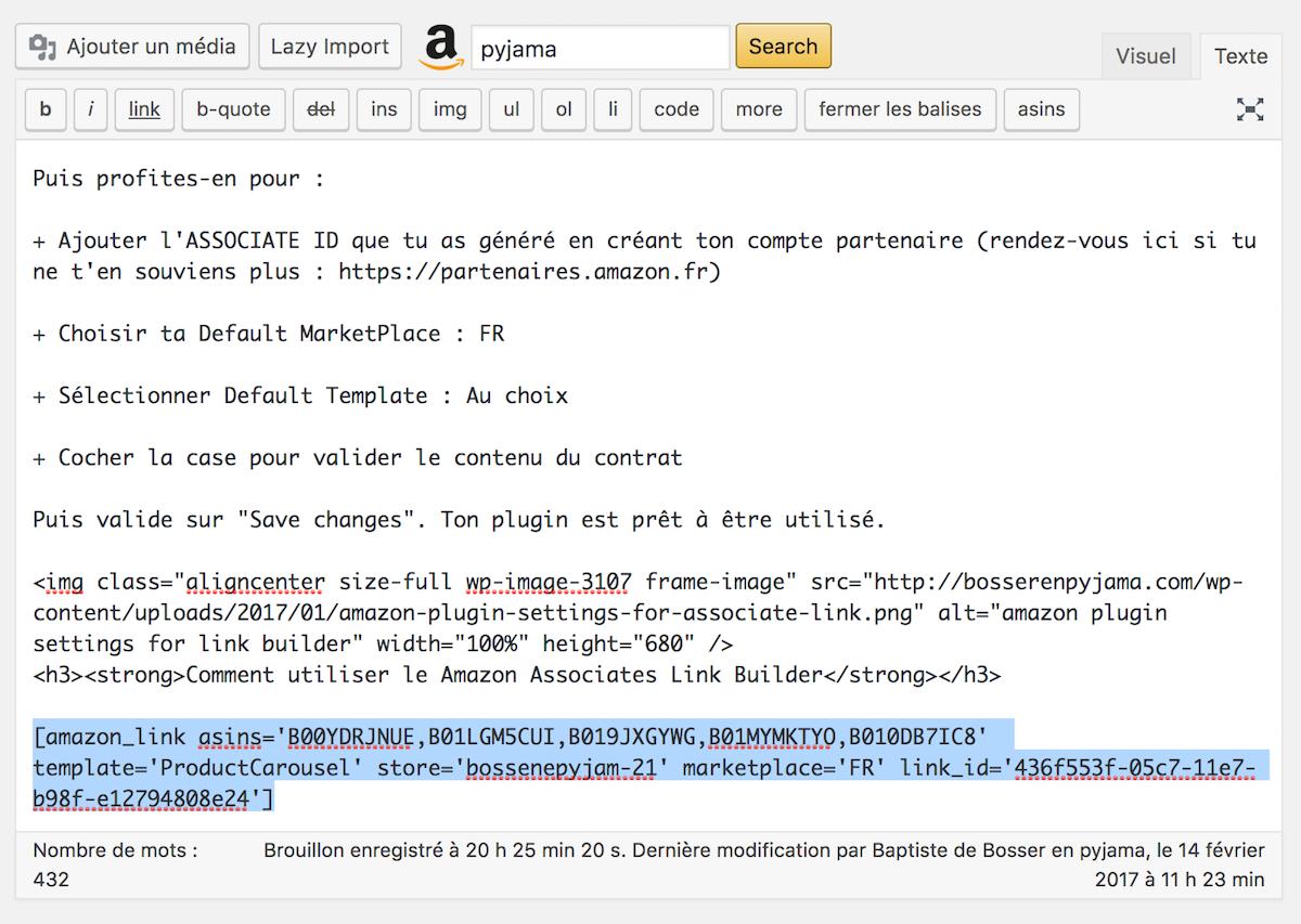 Tutoriel : installer Amazon Associates Link Builder Plugin