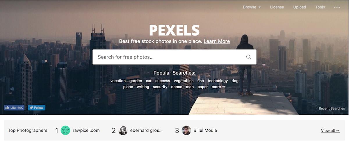 pexels homepage