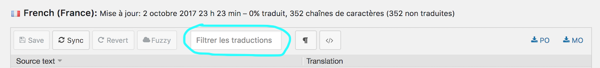 filtrer les traductions