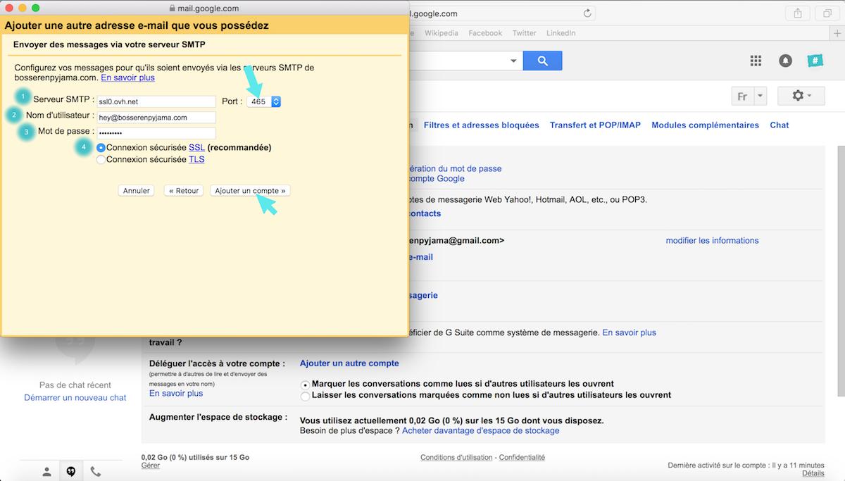 configuration serveur gmail