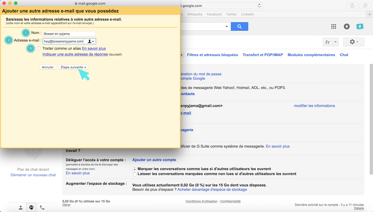 email nouvelle adresse