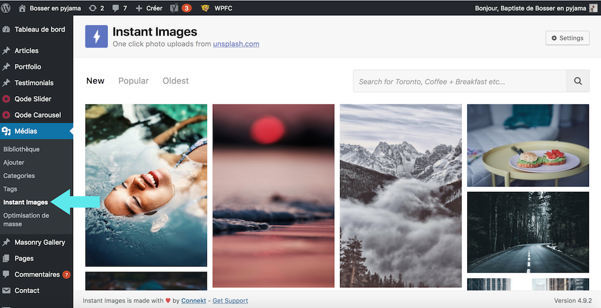 instant images unsplash plugin