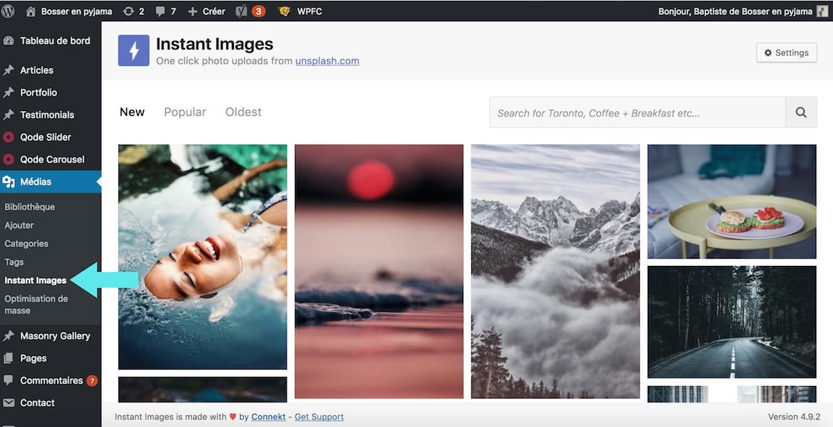 instant images unsplash plugin