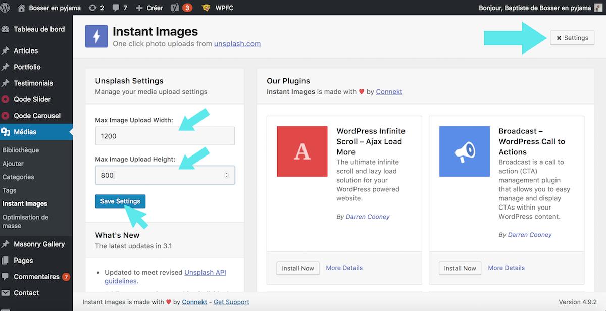 settings instant images unsplash