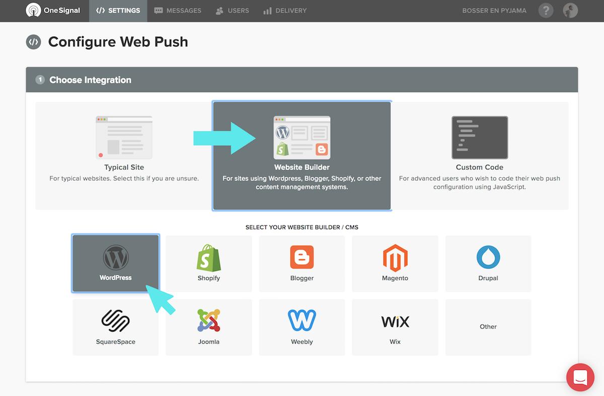 onesignal configure webpush