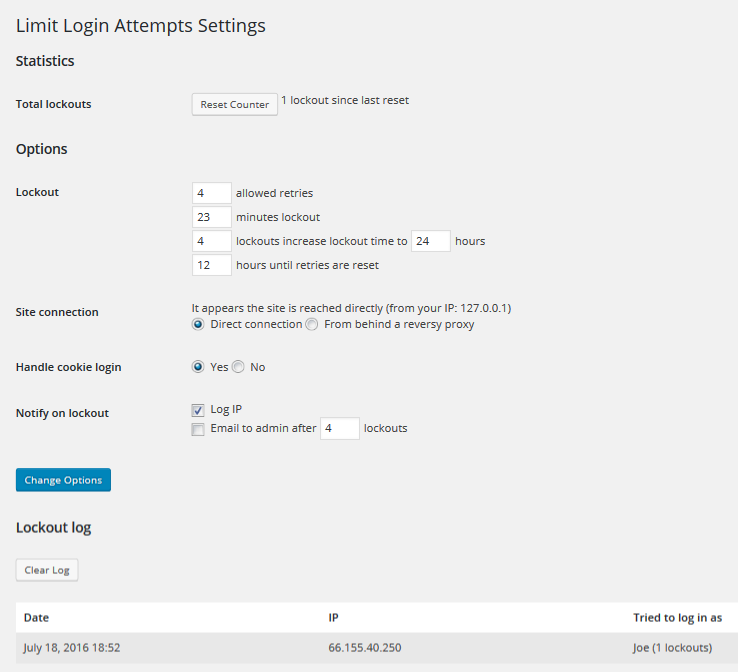 plugin wordpress limit login attempts reloads