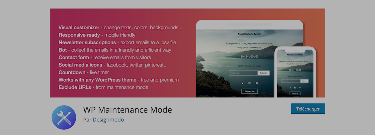WordPress WP Maintenance Mode par Designmodo