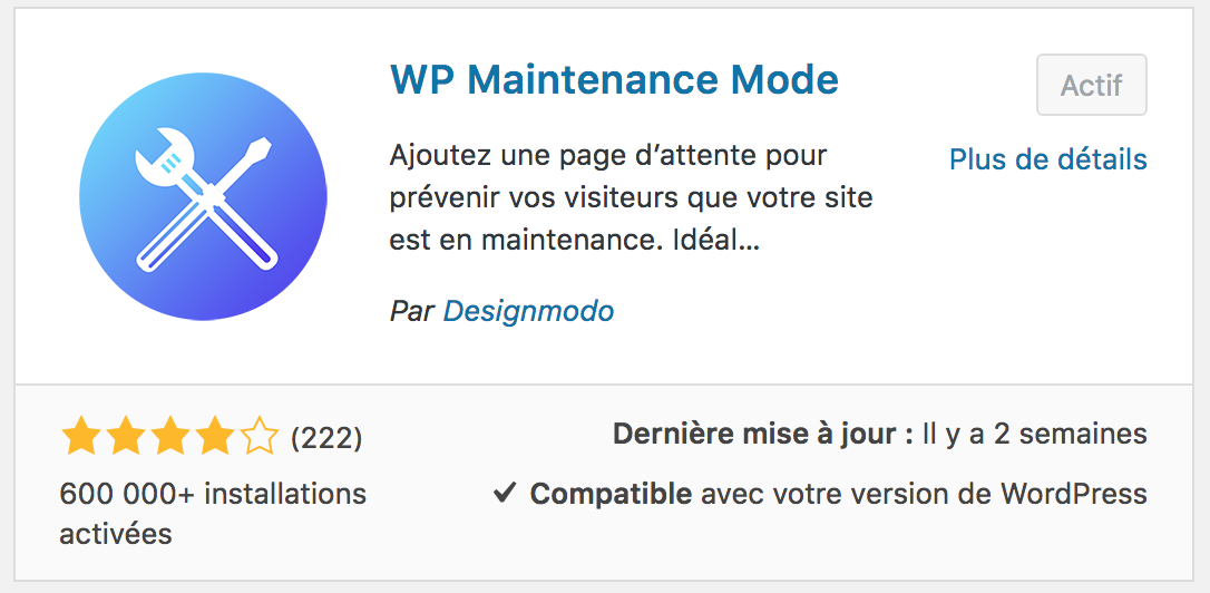 plugin actif wp maintenance mode