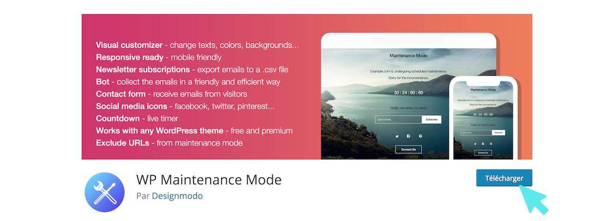 telecharger plugin WordPress WP Maintenance Mode