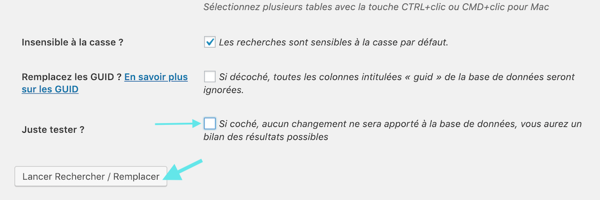 Décoché la case test du plugin WordPress