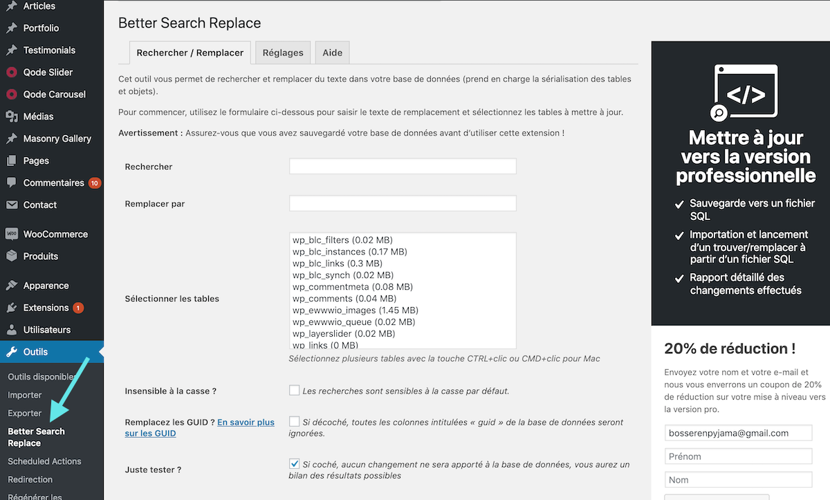 Outils Plugin WordPress Better Search Replace