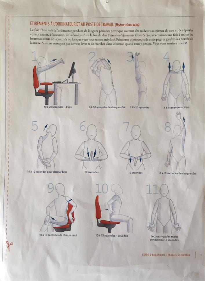 Guide d'ergonomie : étirements à l'ordinateur