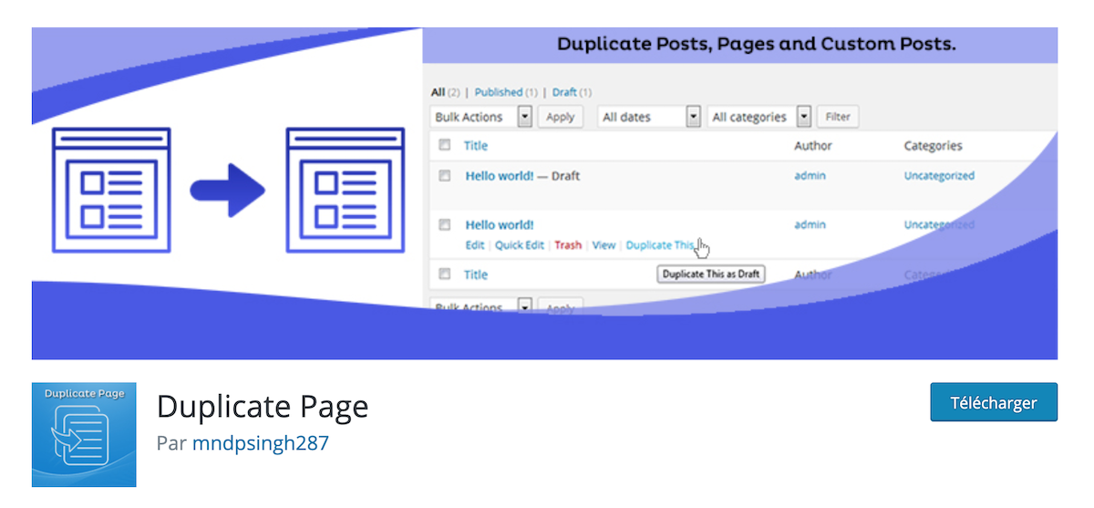 Duplicate page post custom post