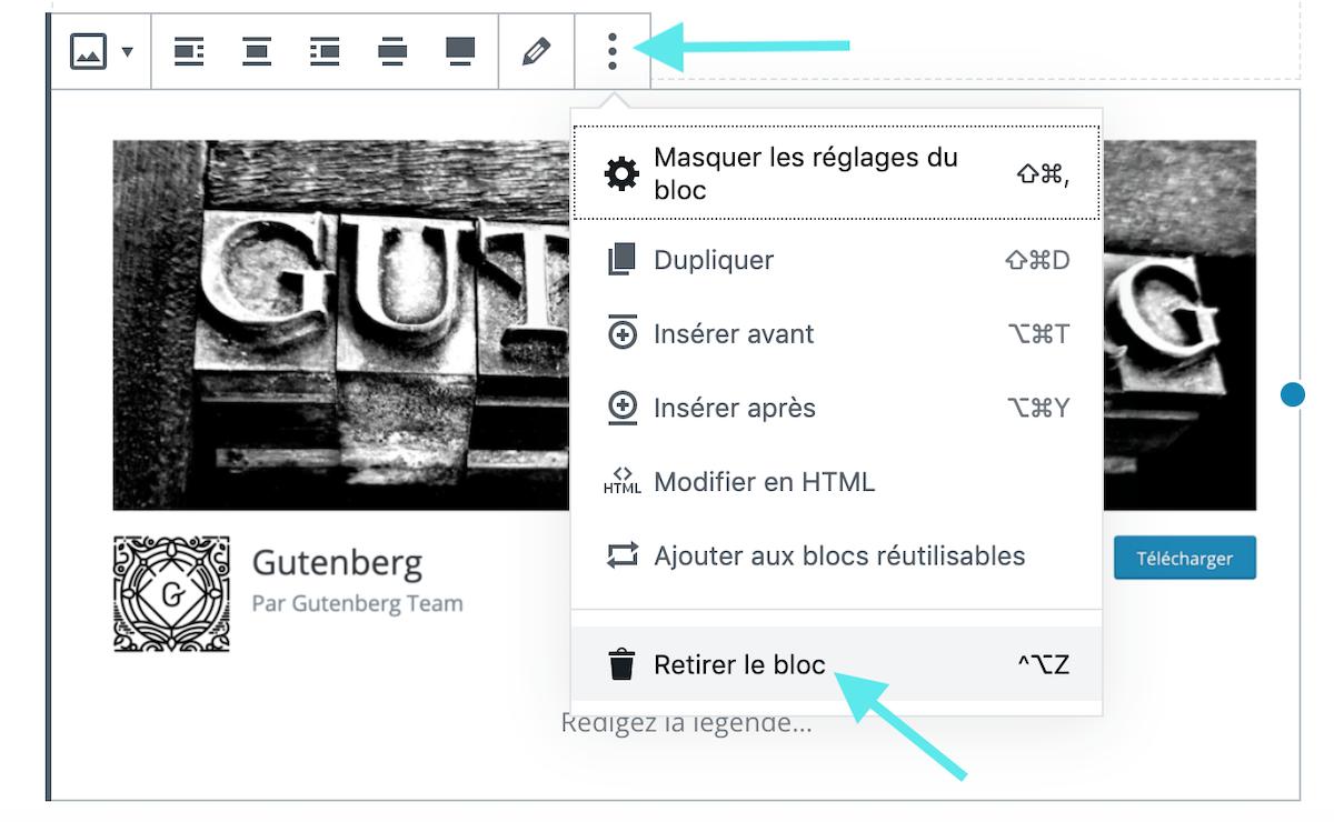 Gutenberg retirer le bloc