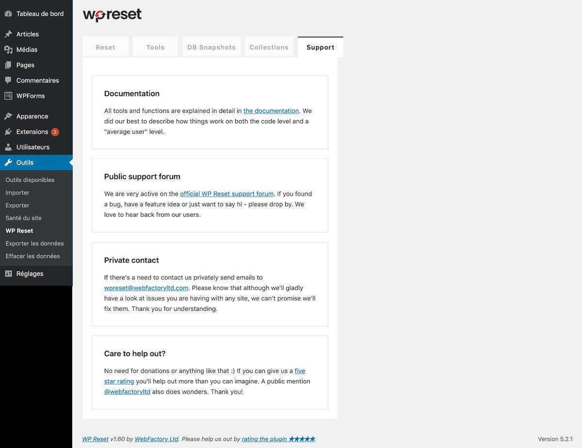 support technique WP Reset – Best WordPress Reset Plugin