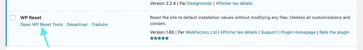 configuration WP Reset