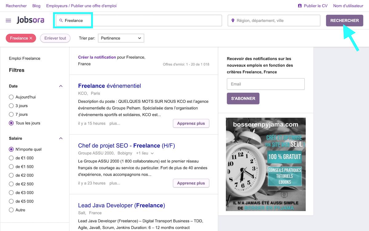 jobsora recherche freelance