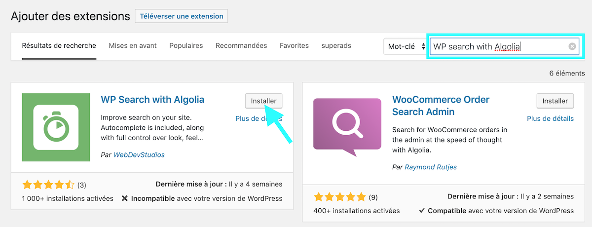 Installation WP search with Algolia
