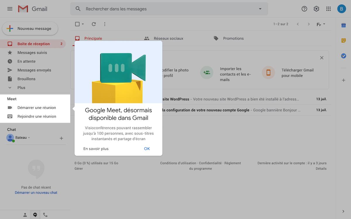 google meet sur gmail
