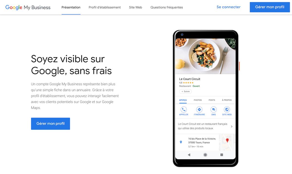 Google MyBusiness visible sans frais