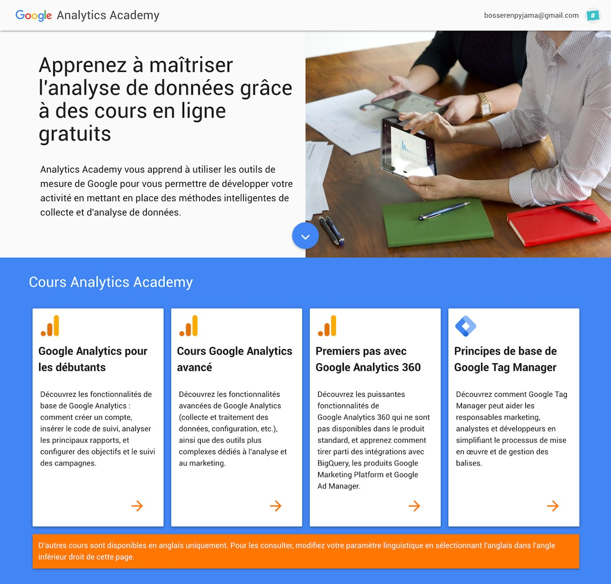 cours formations analytics academy gratuit Google