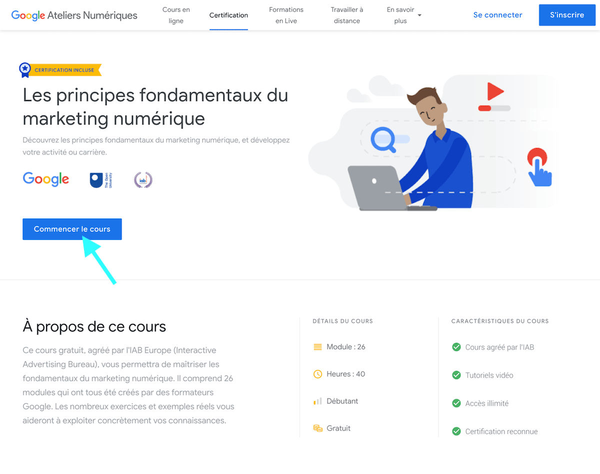 Passer la formation google principes fondamentaux du marketing numerique