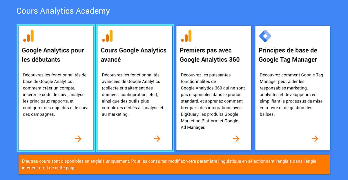 Google Analytics cours débutants