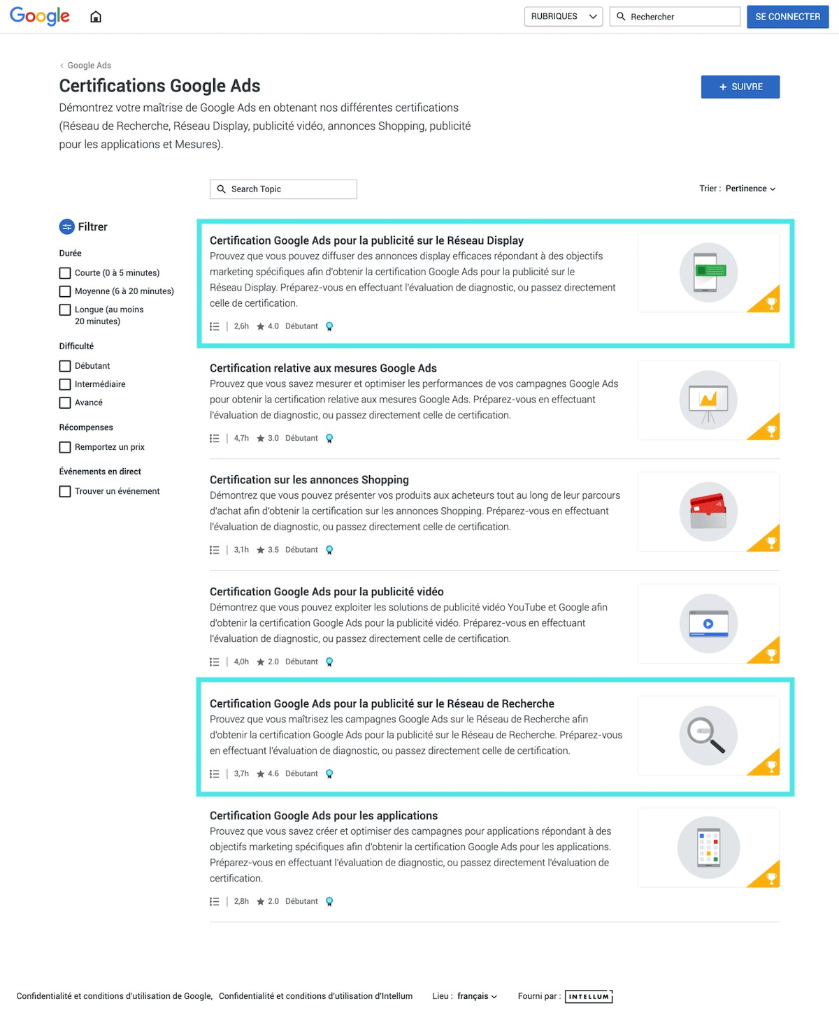 certification google ads en français