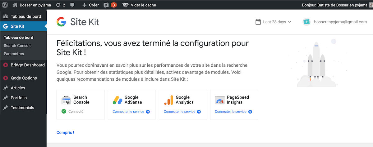 Configuration Site Kit Search consoleterminée