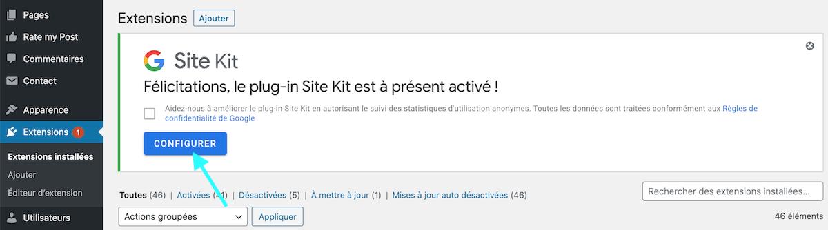 Activer l'extension WordPress Site Kit