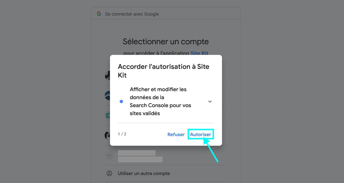autoriser Site Kit de Google pour WordPress