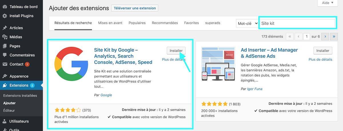 extensions activer et installer Google Site kit